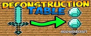 Deconstruction Table Mod 1.12.2/1.10.2/1.7.10